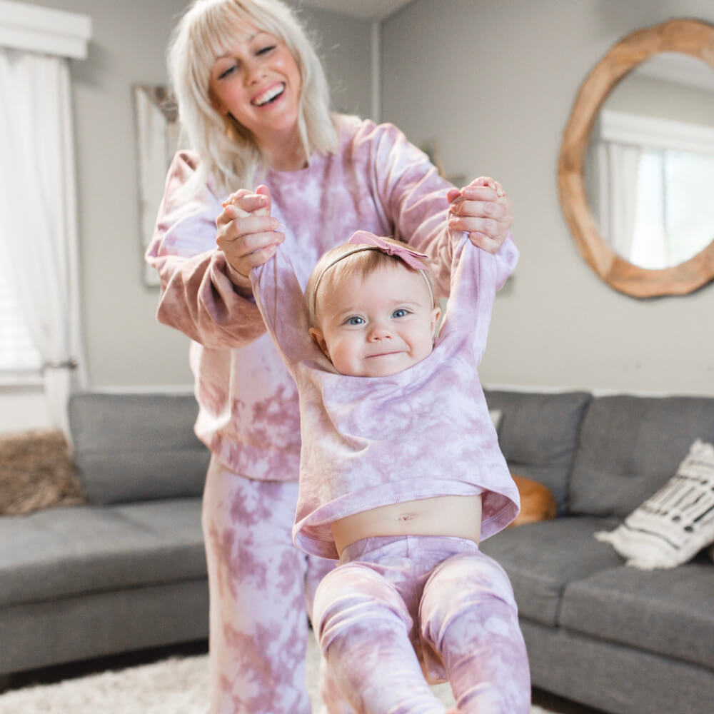 mom and daughter in DIY tie-dye