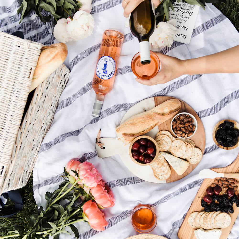 picnic with chees plate and rose' wine