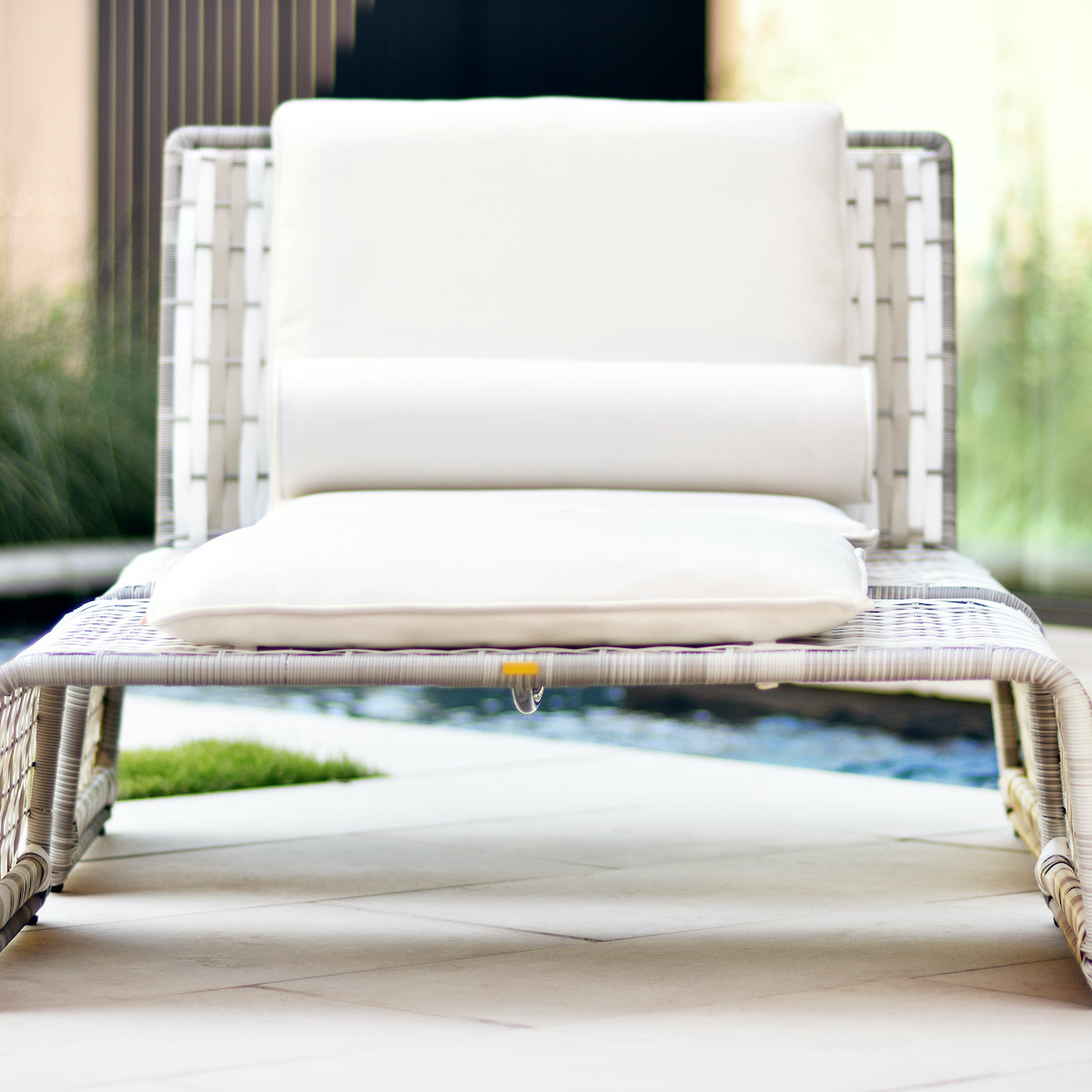 tabloid lounge chair and ottoman in white front view