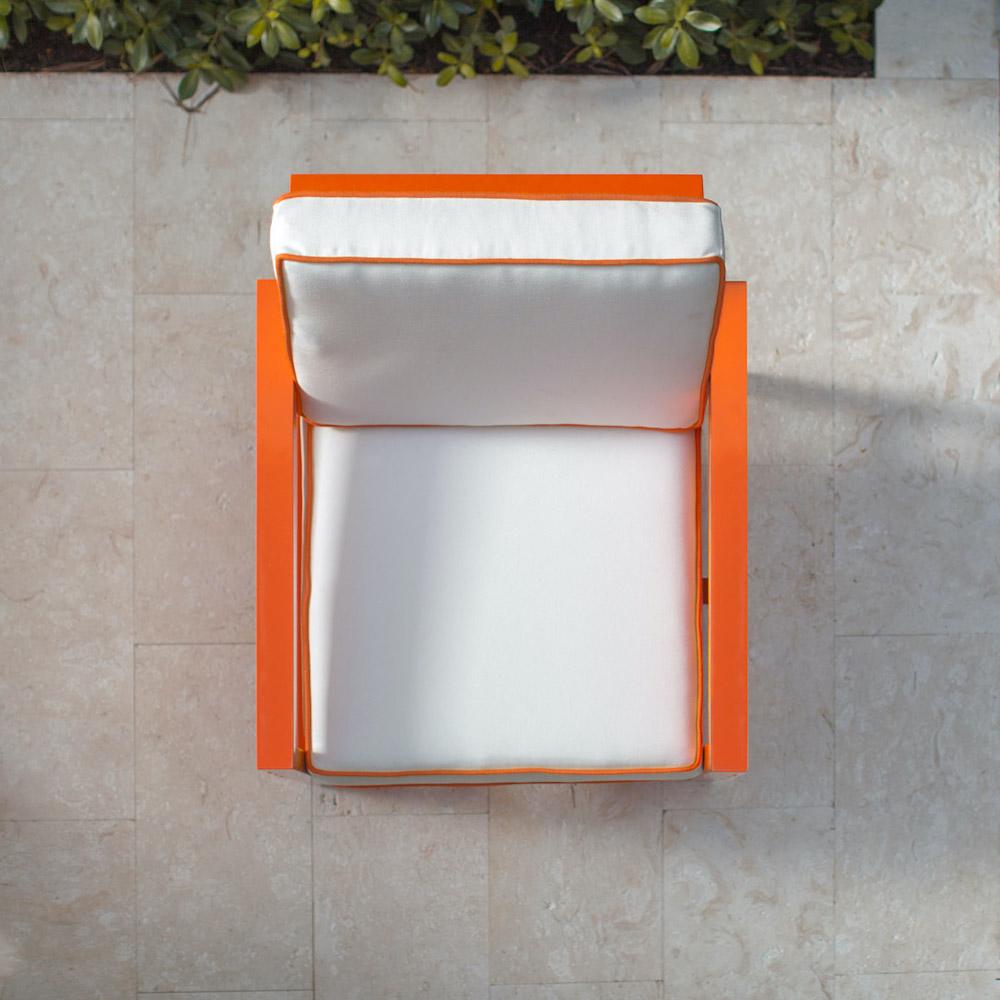 Stori Modern Orange Graphic Outdoor Lounge Chair - top view