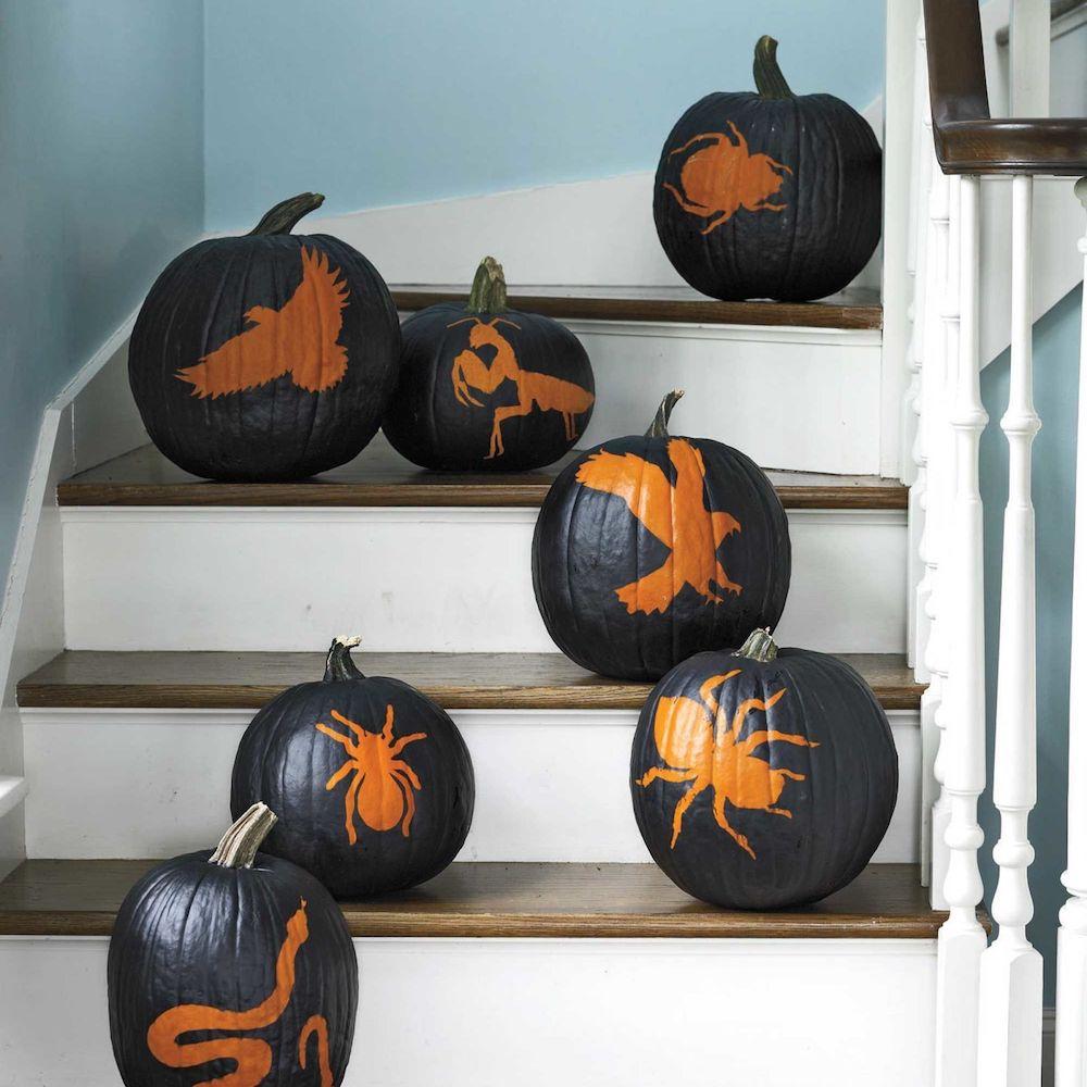 black painted halloween pumpkins
