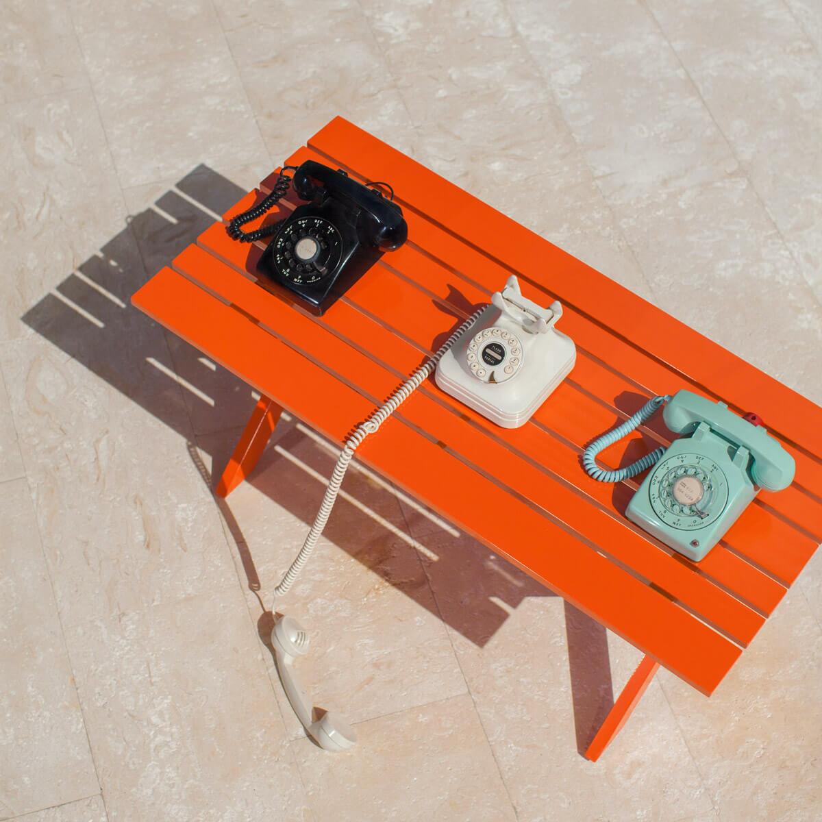 orange graphic outdoor coffee table