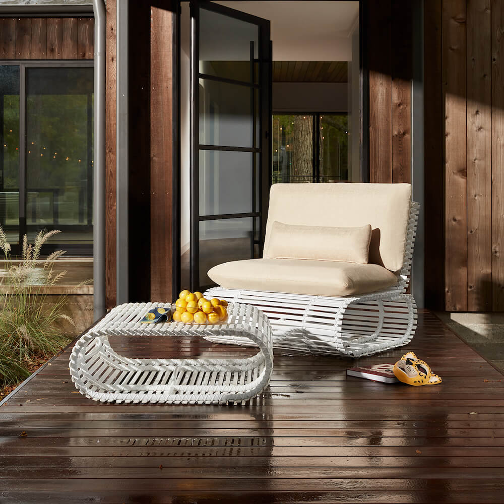 Stori Modern Novel Lounge Chair with Ottoman in white