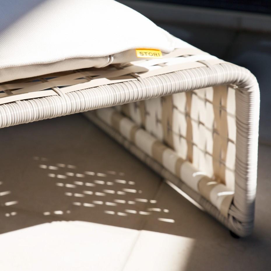 Sunbrella outdoor fabric on Stori Modern Tabloid patio furniture