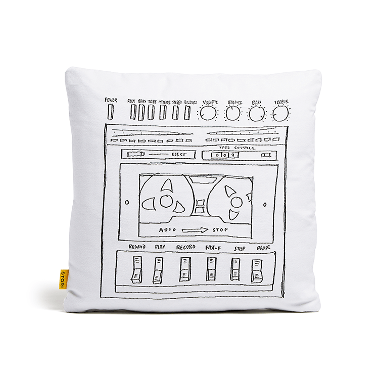 Stori Modern Outdoor Pillow - Boombox in White
