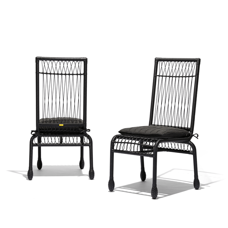 Stori Modern Wicker Patio Dining Chairs in Black