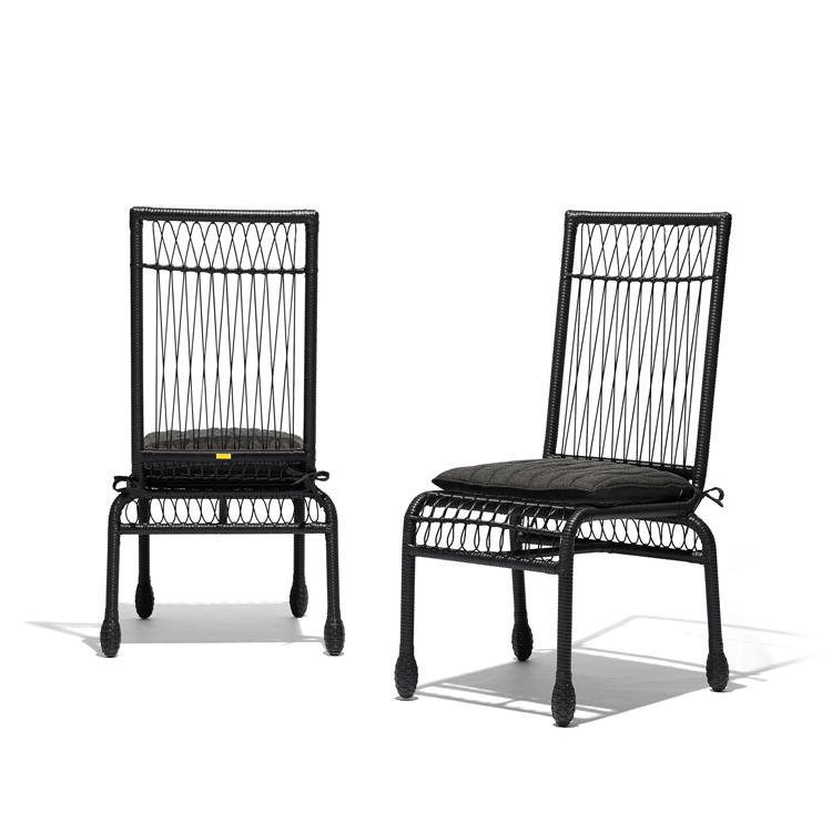 Stori Modern Wicker Patio Dining Chairs in Black