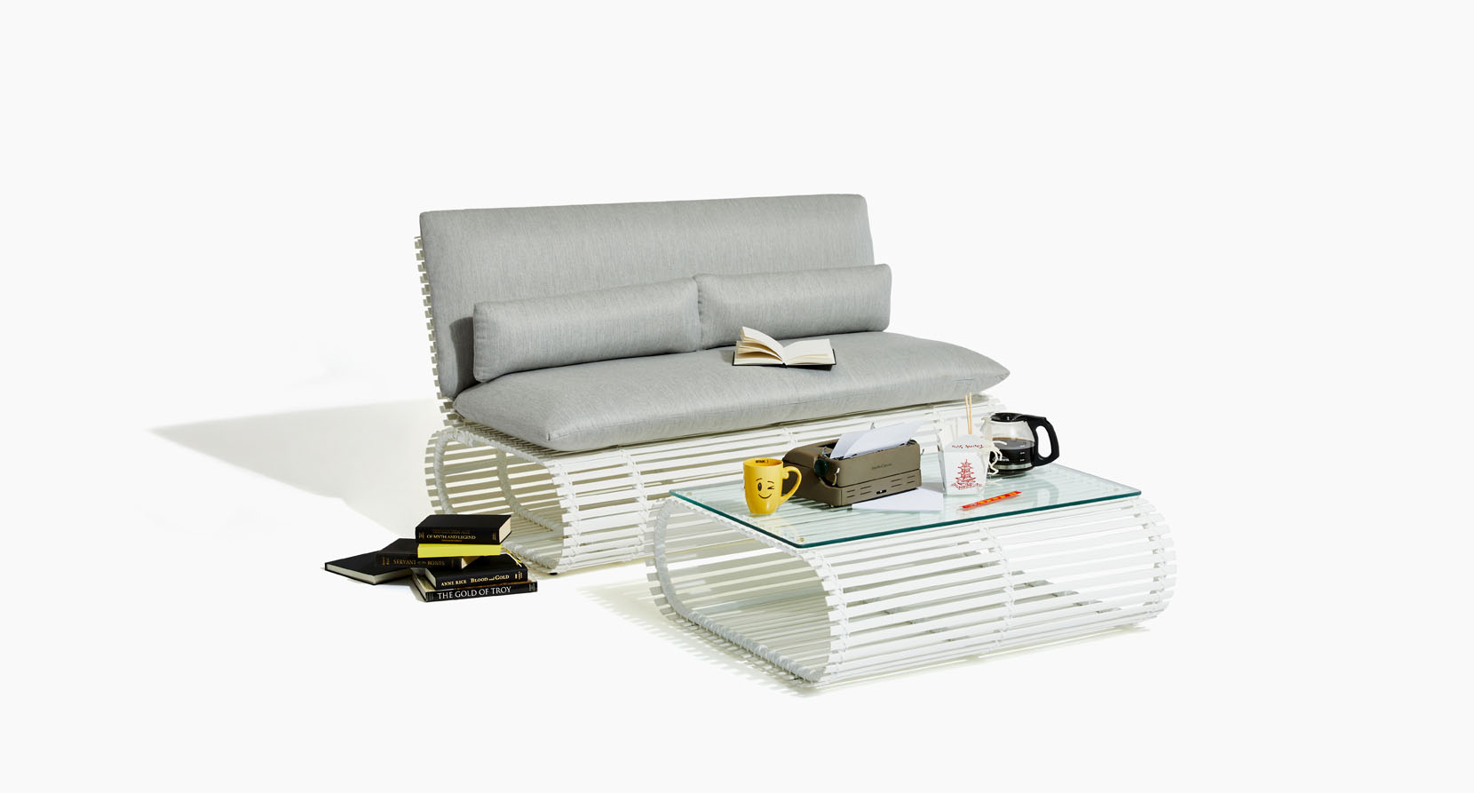 The Novel Collection Outdoor Love Seat and Coffee Table