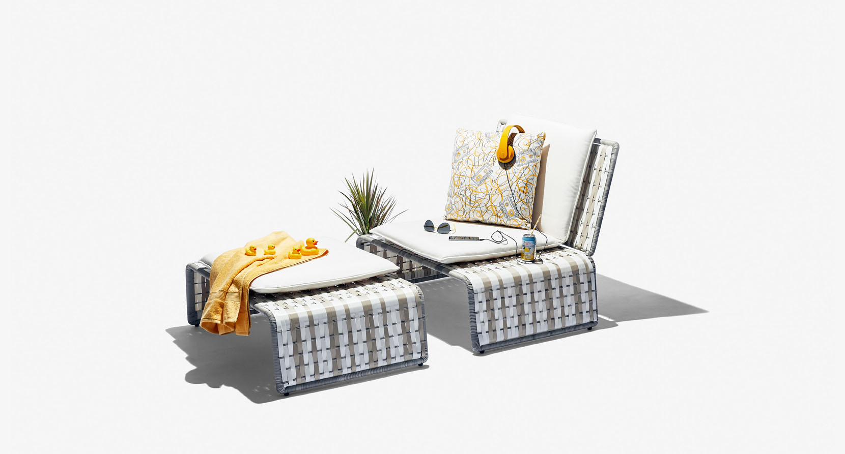 The Tabloid Collection Outdoor Lounge Chair and Ottoman