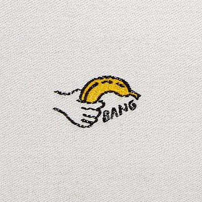 hand holding banana with caption bang